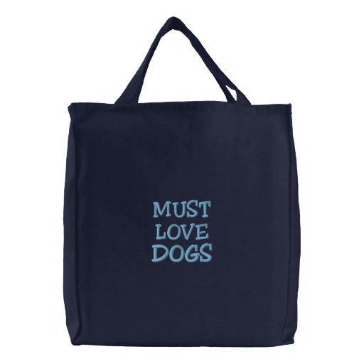 """""""Must Love Dogs"""" Blue Embroidered Black Bag"""