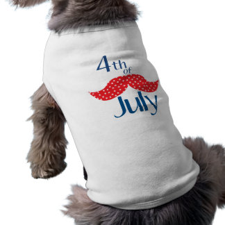 Mustache 4th of July Dog Tee Shirt