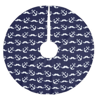 Mustache and anchor pattern brushed polyester tree skirt