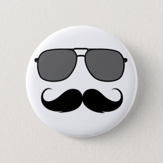 mustache and glasses 6 cm round badge