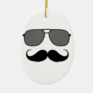 mustache and glasses christmas ornament