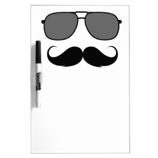 mustache and glasses dry erase board