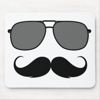 mustache and glasses mouse mat