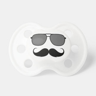 mustache and glasses pacifiers