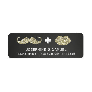 Mustache and Kiss Chalkboard Wedding Address Return Address Label