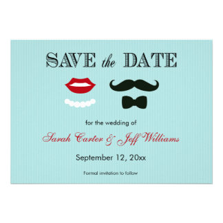 Mustache and Lips Aqua Stripe Save the Date Cards