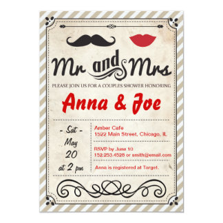 Mustache and Lips Couples Shower Invitation