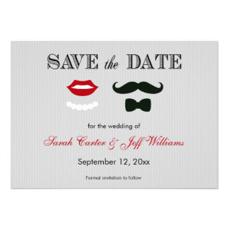 Mustache and Lips Grey Stripe Save the Date Cards