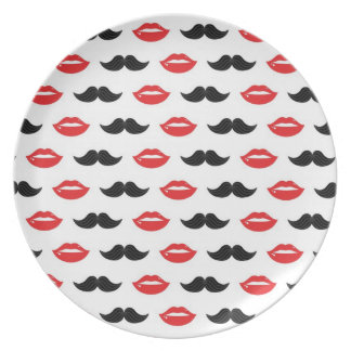 Mustache and Lips His & Hers Wedding Pattern Plate