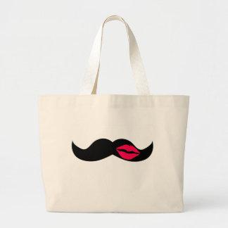 mustache and lips jumbo tote bag