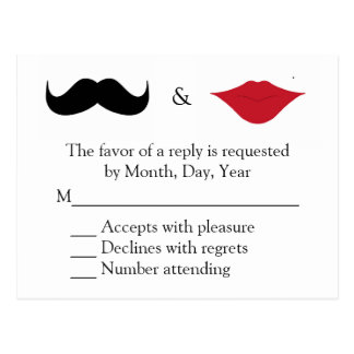 Mustache and lips RSVP Postcard
