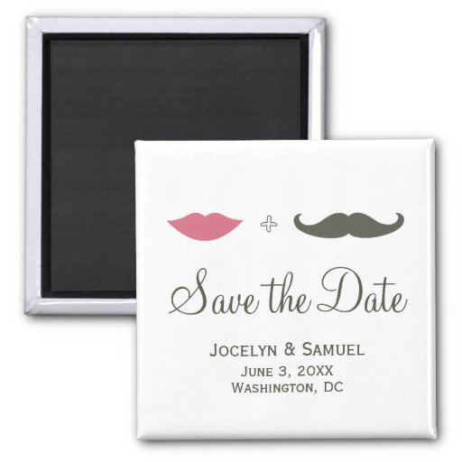 Mustache and Lips Save the Date Magnets