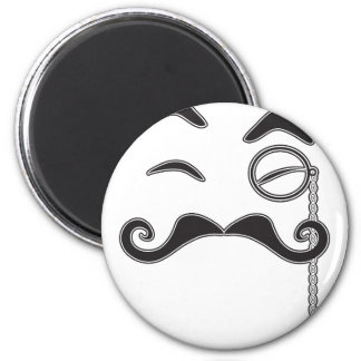 Mustache and Monocle 6 Cm Round Magnet