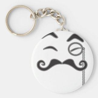 Mustache and Monocle Basic Round Button Key Ring