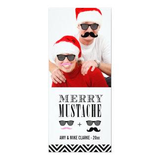 Mustache and Sunglasses Holiday Photo Card 10 Cm X 24 Cm Invitation Card