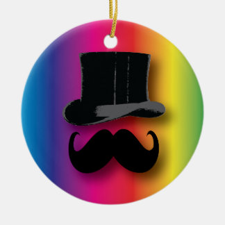 Mustache and Top Hat Rainbow ornament