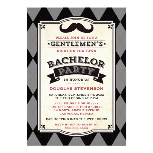 Mustache & Argyle Bachelor Party Invitation