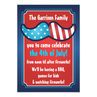 Mustache Bash 4th of July Party Invitations