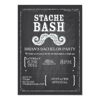 Mustache Bash Bachelor Party Chalkboard Hipster Card