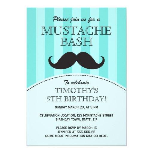 Mustache bash birthday party invitation, aqua