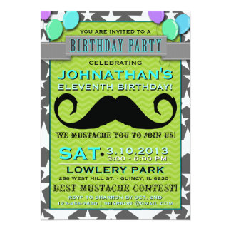 Mustache Bash Chevron Birthday Party Invitation