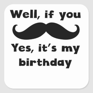 Mustache Birthday Square Sticker