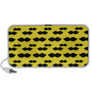 Mustache, Black Handlebar on Yellow Background Travel Speaker