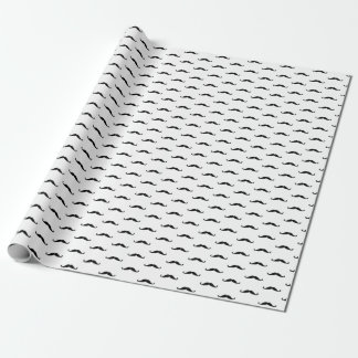 Mustache, black, simple, birthday wrapping paper