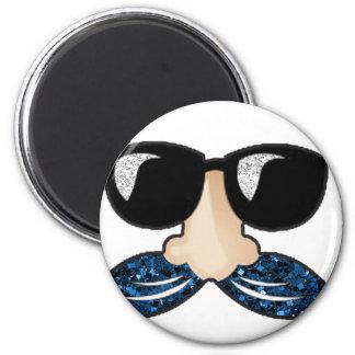 Mustache blue glitter glasses 6 cm round magnet