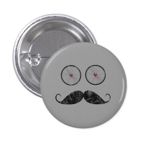 Mustache button with bicycle wheel eyes