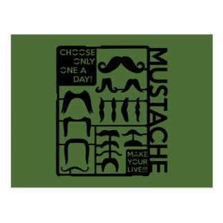 Mustache choose only one a day postcards