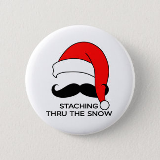 Mustache Christmas - Staching thru the snow 6 Cm Round Badge