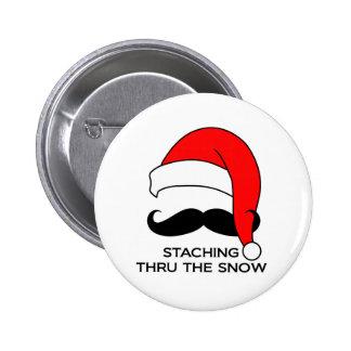 Mustache Christmas - Staching thru the snow 6 Cm Round Badge