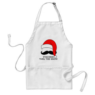Mustache Christmas - Staching thru the snow Standard Apron