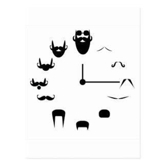Mustache Clockface Postcard