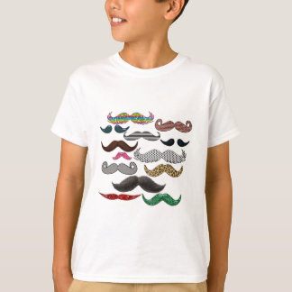 Mustache Collage Mustaches Popular Add Color Text T-Shirt