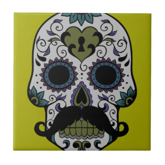 Mustache Day of the Dead Small Square Tile