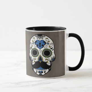 Mustache Day of the Dead Sugar Skull Mug