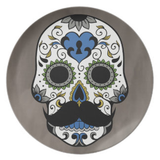 Mustache Day of the Dead Sugar Skull Plate