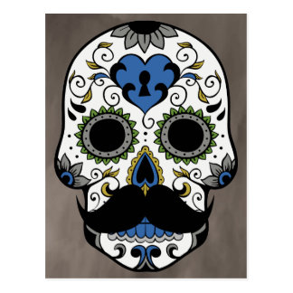 Mustache Day of the Dead Sugar Skull Postcard