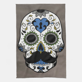 Mustache Day of the Dead Sugar Skull Tea Towel