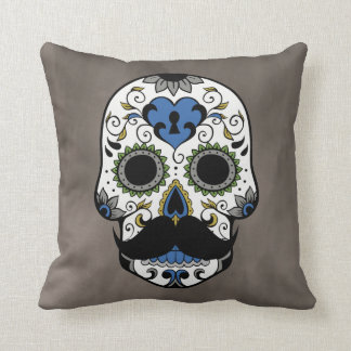 Mustache Day of the Dead Sugar Skull Throw Pillow