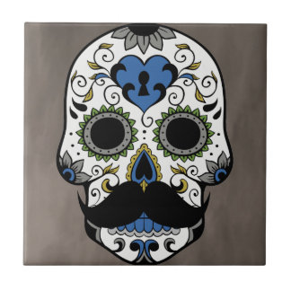 Mustache Day of the Dead Sugar Skull Tile
