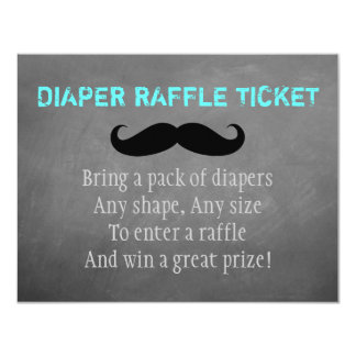 Mustache Diaper Raffle Ticket Card