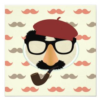 Mustache Disguise Glasses Pipe Beret Face 13 Cm X 13 Cm Square Invitation Card