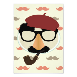 Mustache Disguise Glasses Pipe Beret Face 13 Cm X 18 Cm Invitation Card