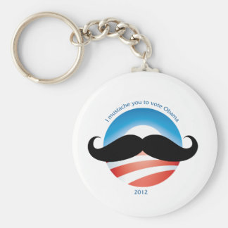 Mustache for Obama - 2012 Basic Round Button Key Ring