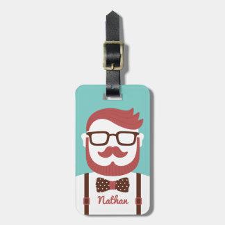 Mustache Gentleman Bowtie Luggage Tag