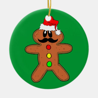 mustache gingerbread man christmas ornament