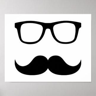 Mustache glasses poster